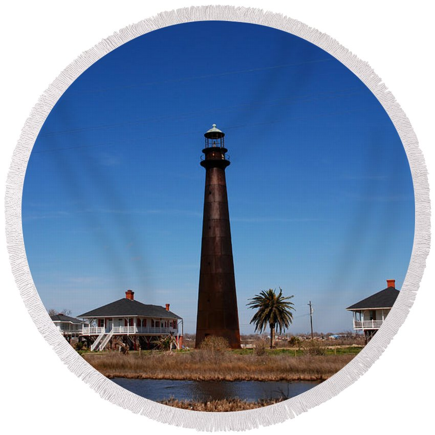 Lighthouse Round Beach Towel featuring the photograph Point Bolivar Lighthouse Tx by Susanne Van Hulst