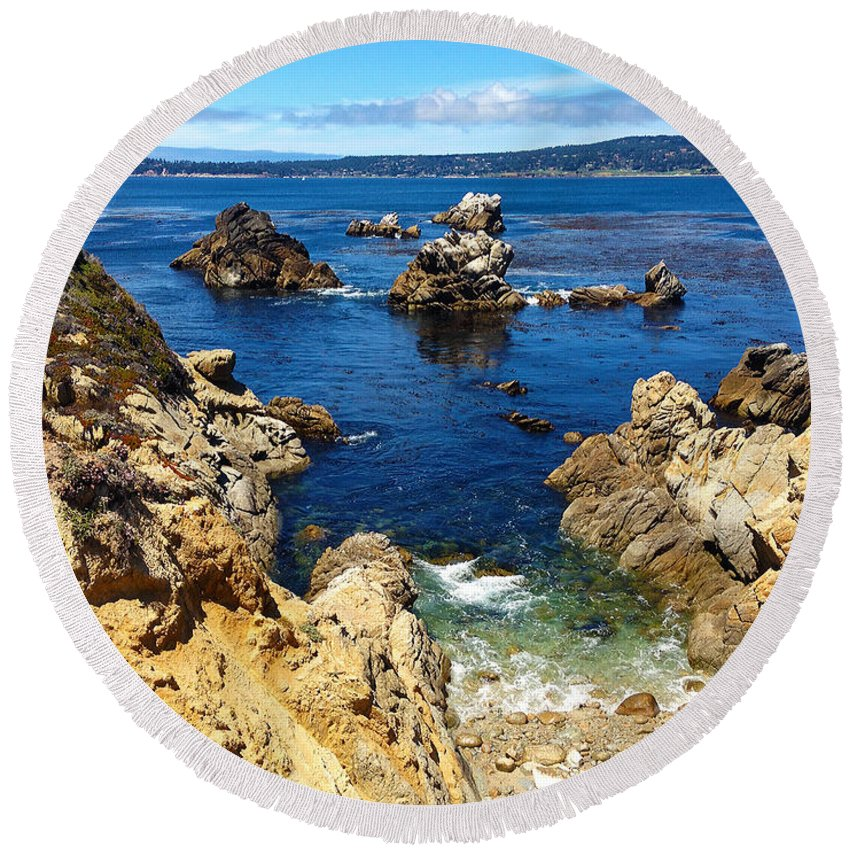 Point Lobos Round Beach Towel featuring the painting Point Lobos Whalers Cove- Seascape Art by Kathy Symonds