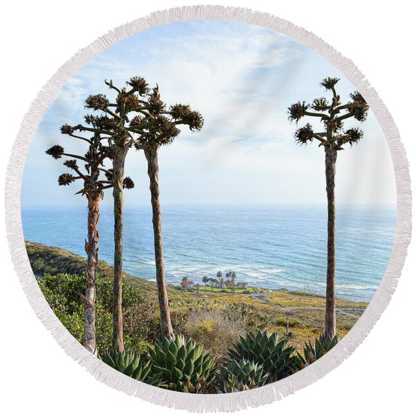 Point Loma Lighthouse Round Beach Towel featuring the photograph Point Loma Lighthouse Overlook by Glenn McCarthy