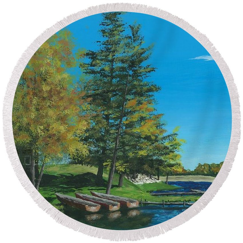 Late Summer Round Beach Towel featuring the painting Point Narrows by Ron Ward