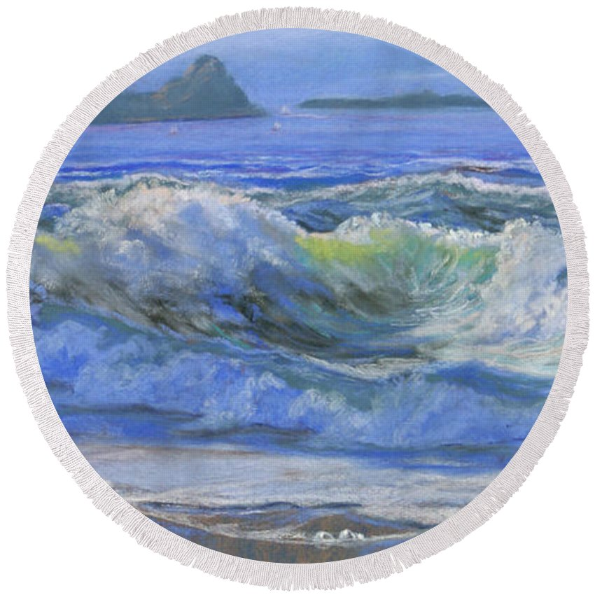 Seascape Round Beach Towel featuring the painting Point Reyes by Heather Coen