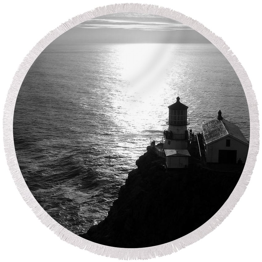 Lighthouse Round Beach Towel featuring the photograph Point Reyes Lighthouse - Black And White by Carol Groenen