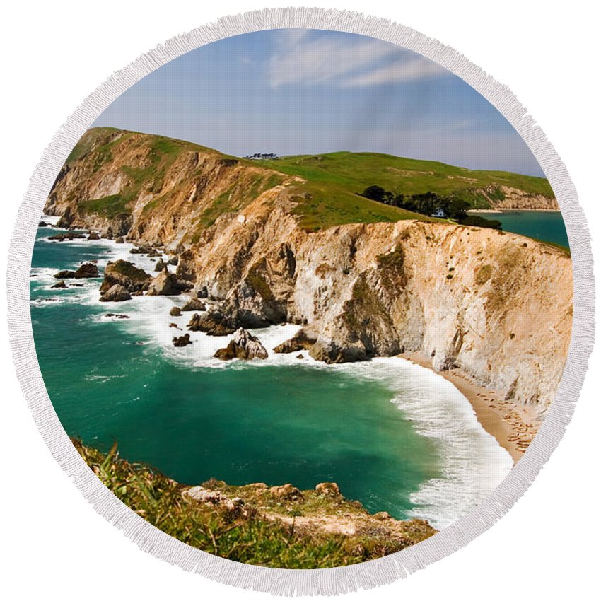 Elephant Seal Round Beach Towel featuring the photograph Point Reyes National Seashore by Renee Hong