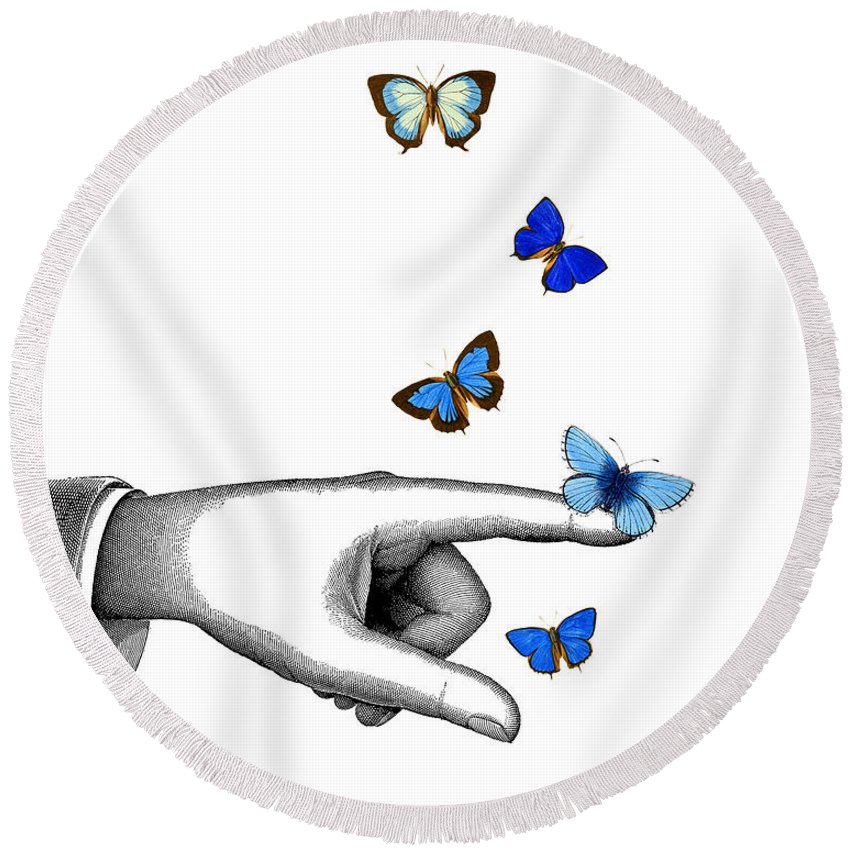 Pointing Round Beach Towel featuring the digital art Pointing Finger With Blue Butterflies by Madame Memento
