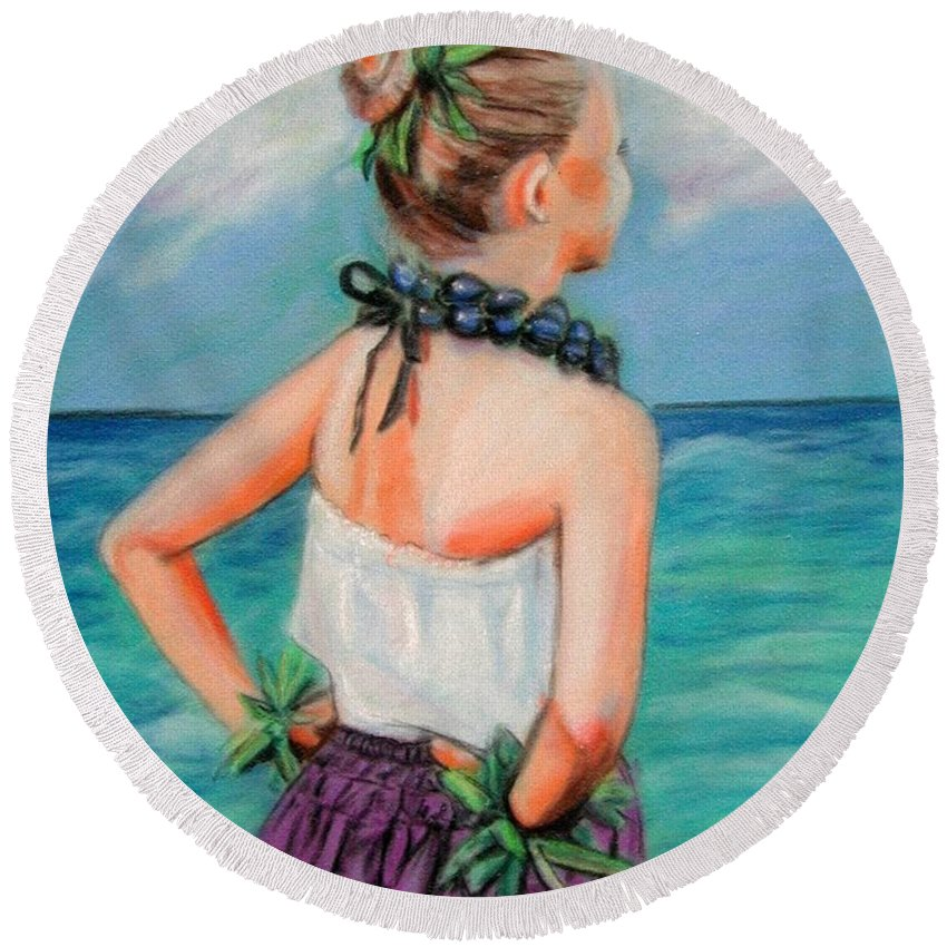 Hula Dance Round Beach Towel featuring the painting Poipu Hula by Marionette Taboniar
