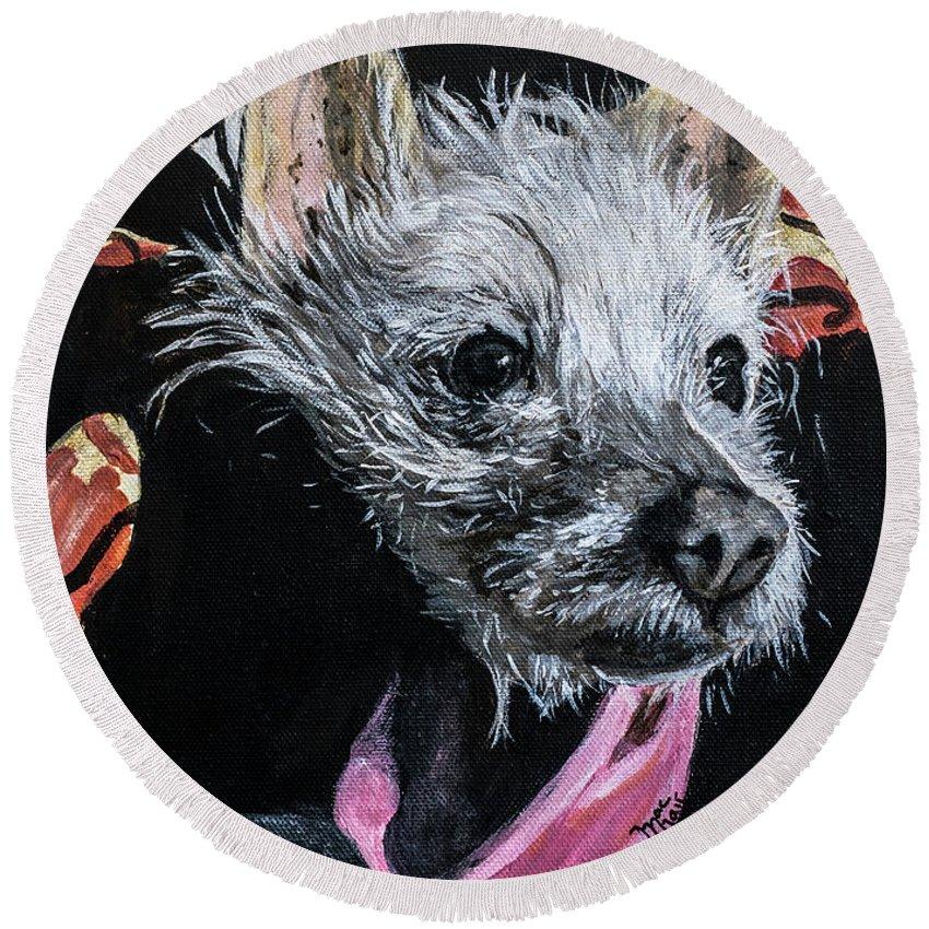 Dog Round Beach Towel featuring the painting Pokita by Jackie MacNair