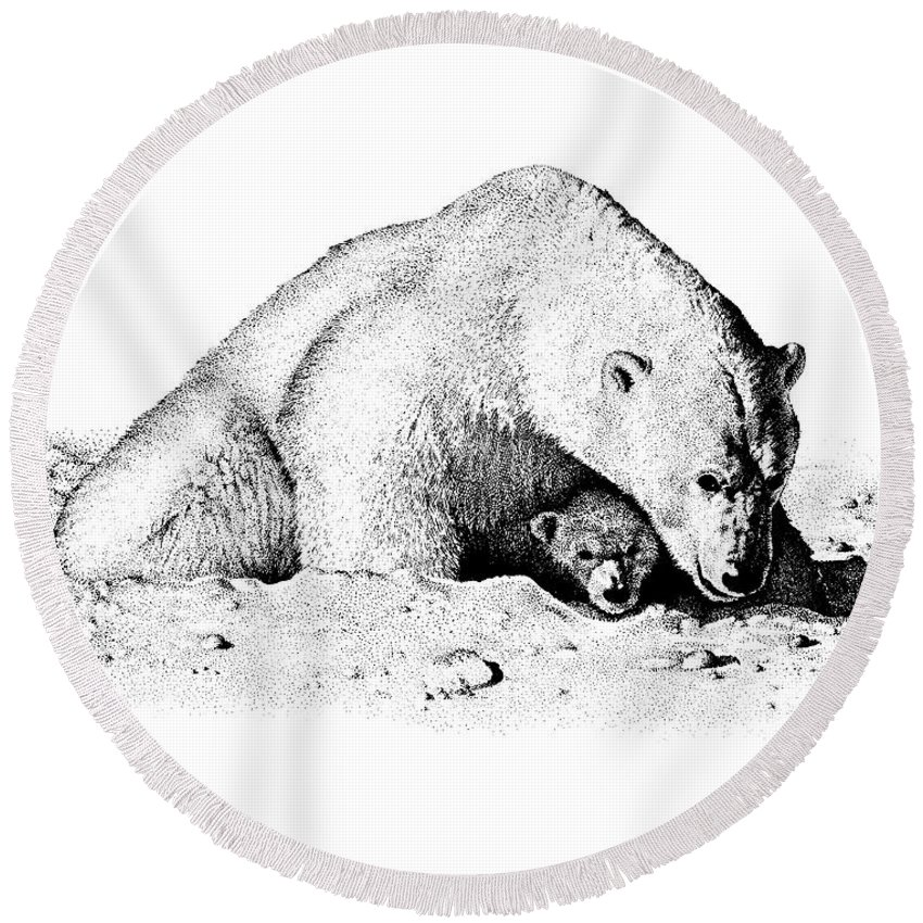 Polar Bear Round Beach Towel featuring the drawing Polar Bear Protects Her Young by Don Locke