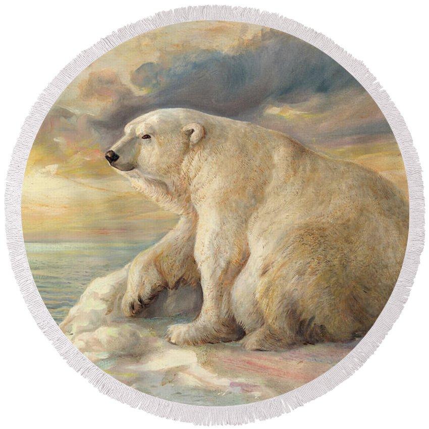 Polar Bear Round Beach Towel featuring the painting Polar Bear Rests On The Ice - Arctic Alaska by Svitozar Nenyuk
