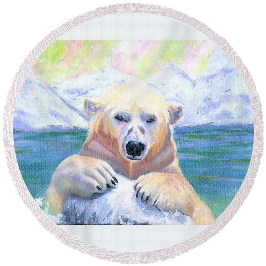 Polar Bears Round Beach Towel featuring the painting Polar Playtime by Deborah Butts