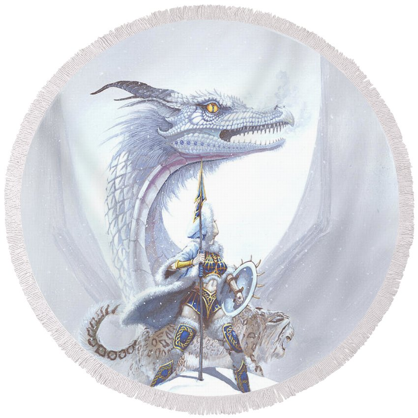 Dragon Round Beach Towel featuring the painting Polar Princess by Stanley Morrison