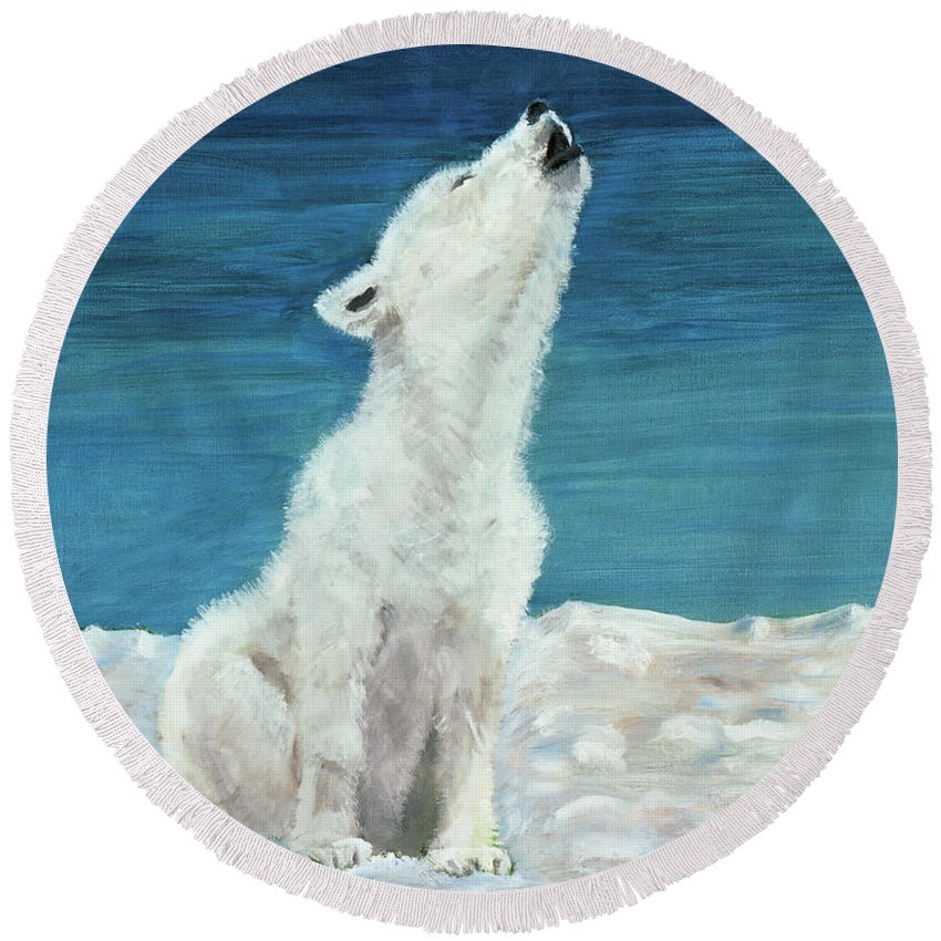 Dog Round Beach Towel featuring the painting Polar Pup by Terry Lewey