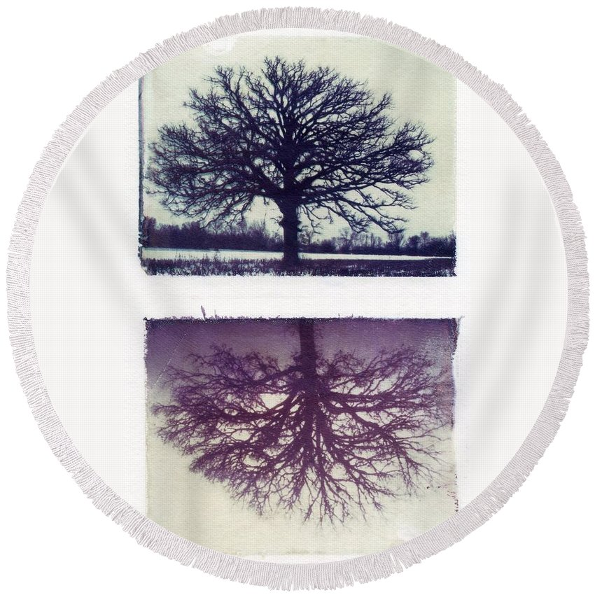 Polaroid Round Beach Towel featuring the photograph Polaroid Transfer Tree by Jane Linders