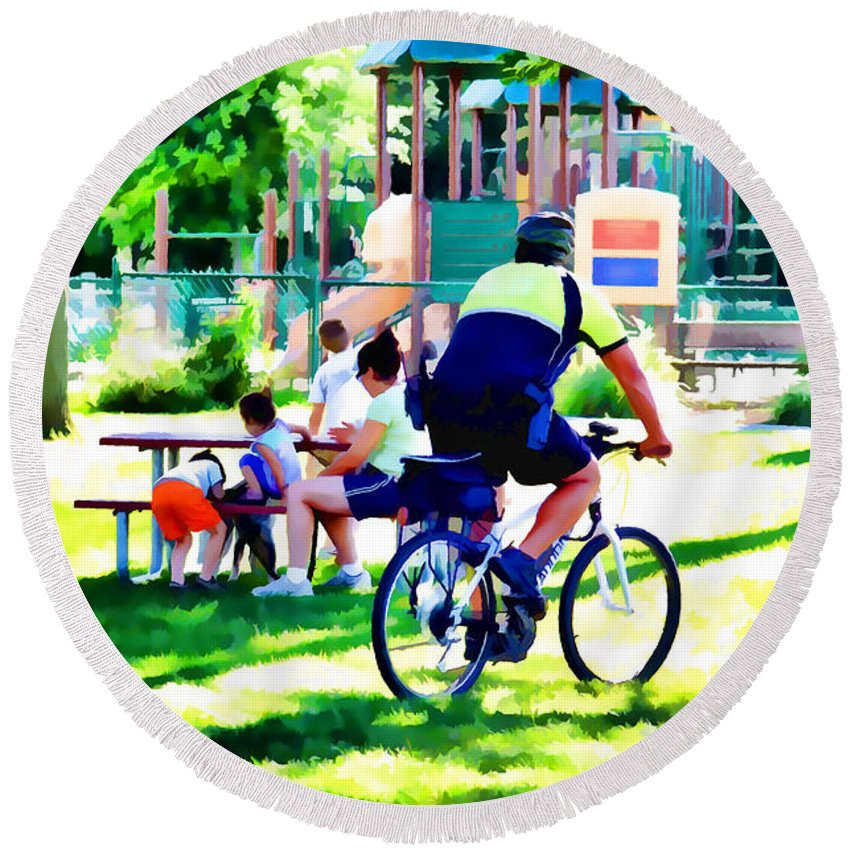 Police Officer Rides A Bicycle Round Beach Towel featuring the painting Police Officer Rides A Bicycle by Jeelan Clark