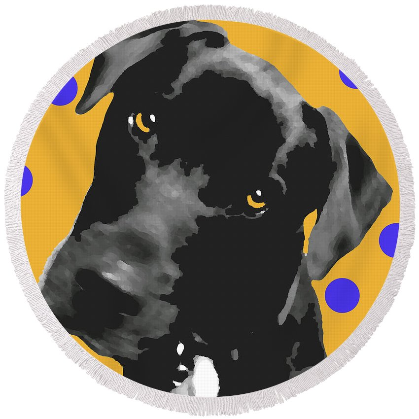 Dogs Round Beach Towel featuring the photograph Polka Dot by Amanda Barcon