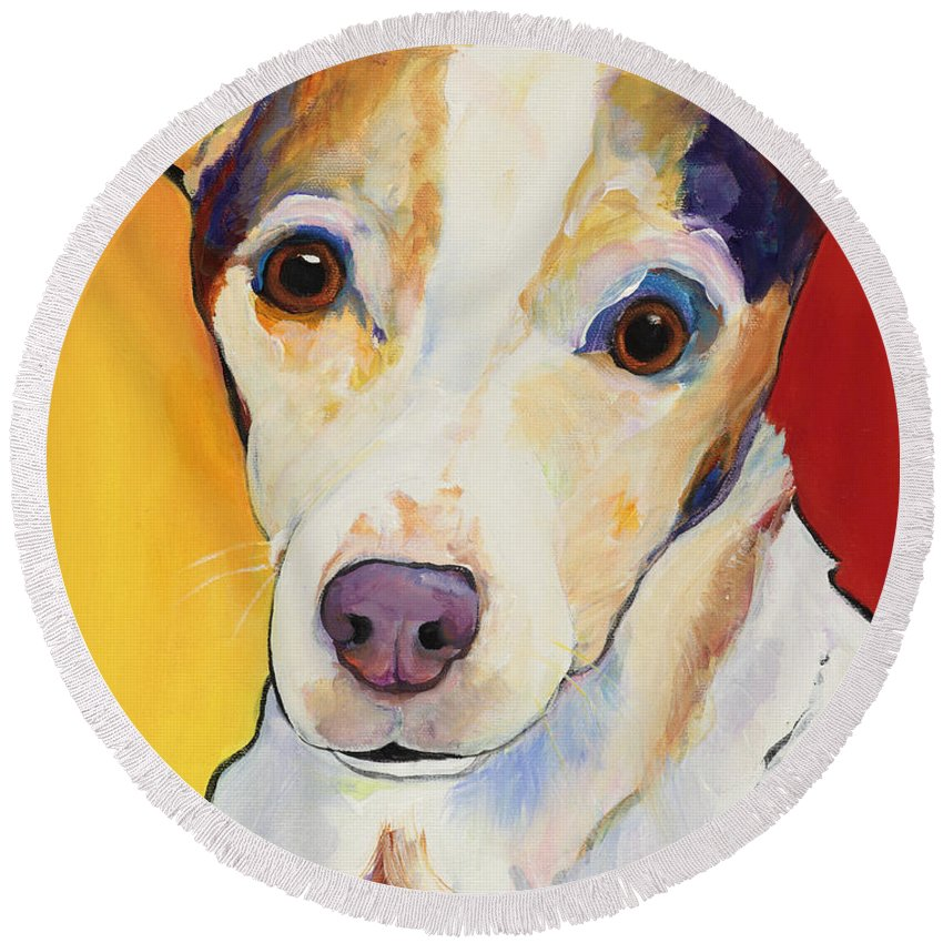 Jack Russell Round Beach Towel featuring the painting Polly by Pat Saunders-White