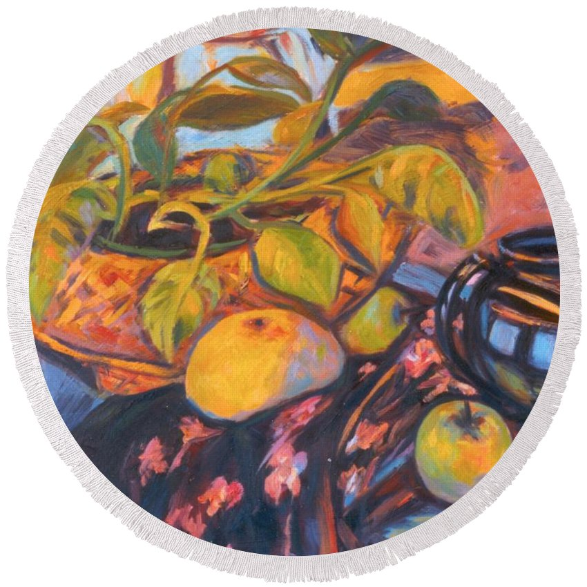 Still Life Round Beach Towel featuring the painting Pollys Plant by Kendall Kessler