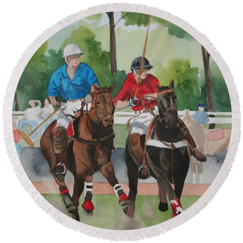 Polo Round Beach Towel featuring the painting Polo In The Afternoon 2 by Jean Blackmer