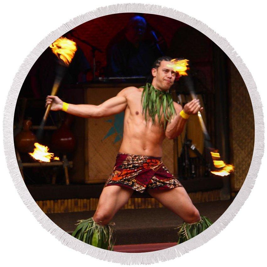 Polynesian Fire Dancing Round Beach Towel featuring the photograph Polynesian Fire Dancing by Denise Mazzocco