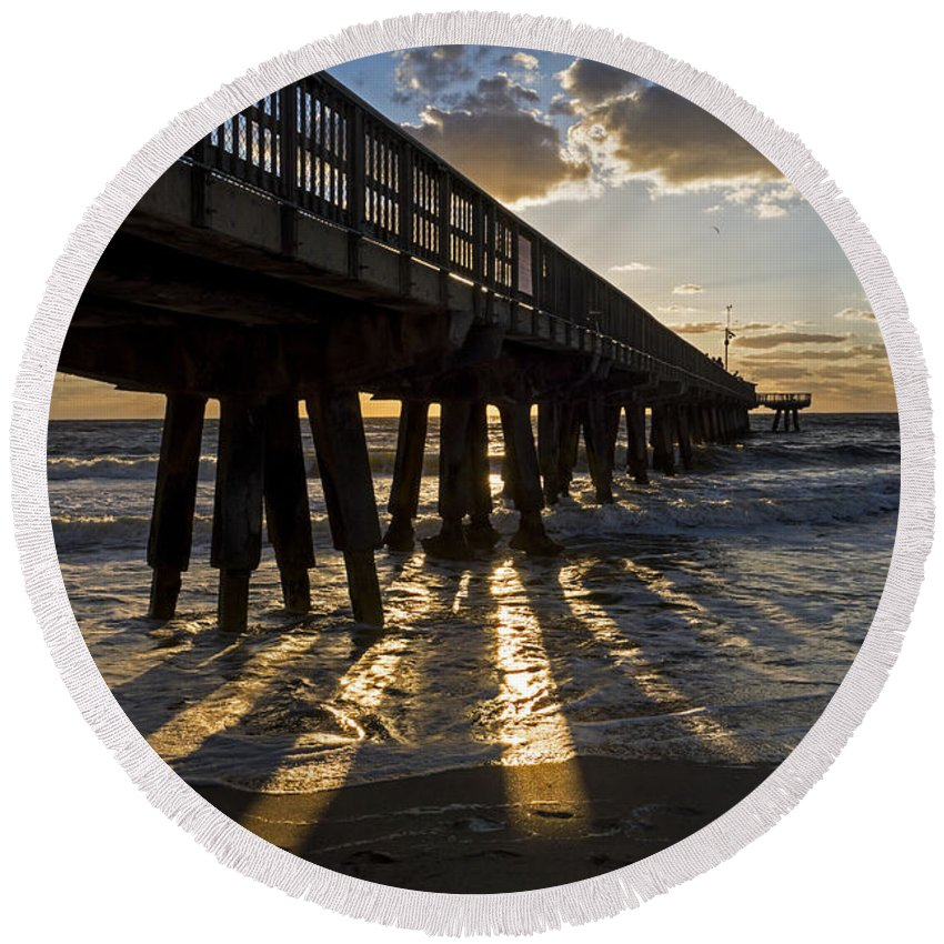 Pompano Round Beach Towel featuring the photograph Pompano Beach Fishing Pier At Sunrise Florida Sunrays by Toby McGuire