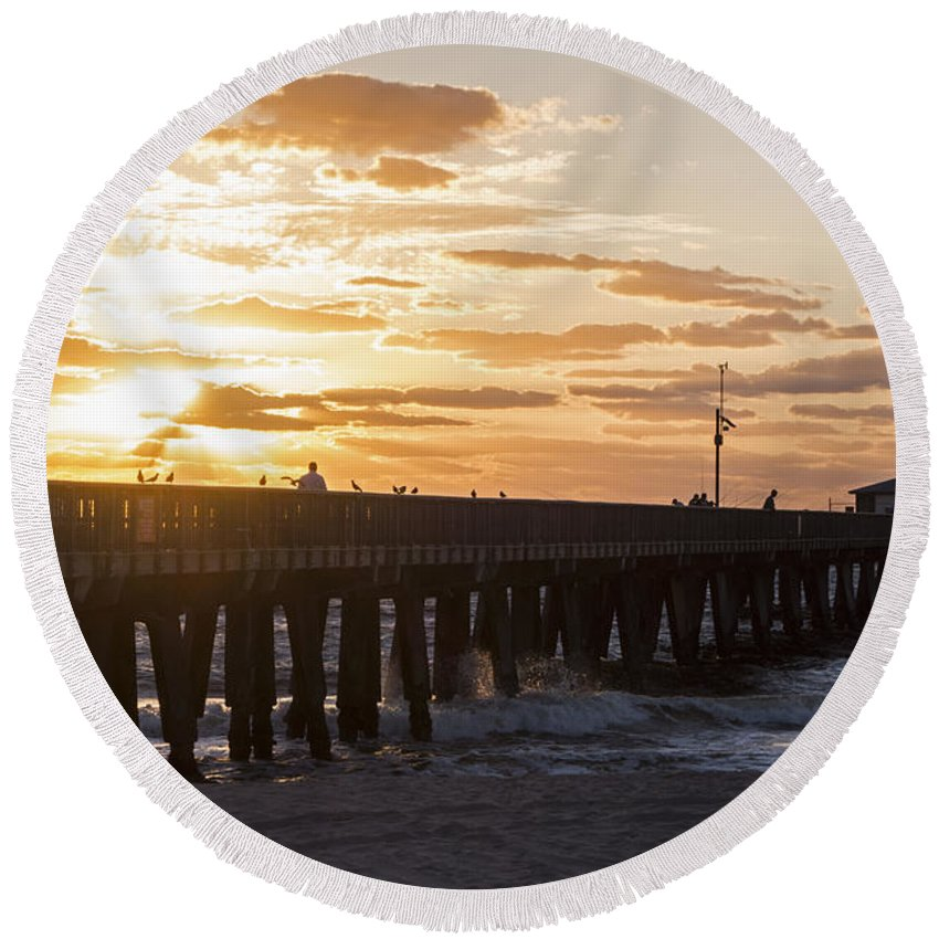 Pompano Round Beach Towel featuring the photograph Pompano Beach Fishing Pier At Sunrise Florida Sunrise 2 by Toby McGuire