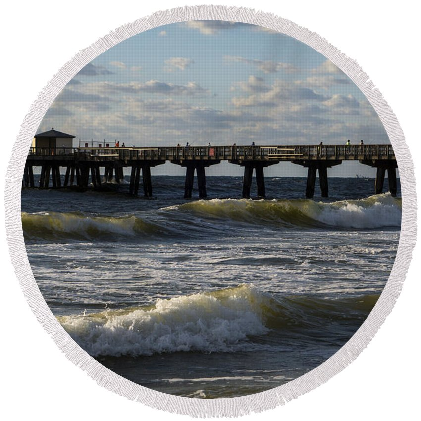 Pompano Round Beach Towel featuring the photograph Pompano Beach Fishing Pier At Sunrise Florida Sunrise Waves by Toby McGuire