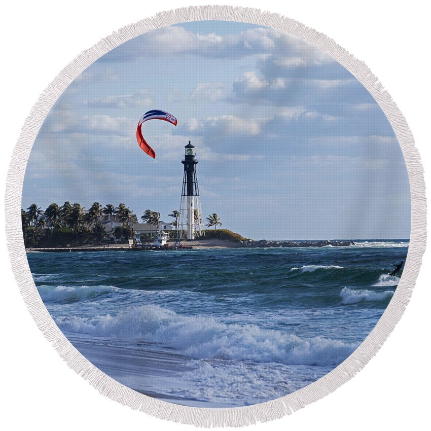 Pompano Round Beach Towel featuring the photograph Pompano Beach Kiteboarder Hillsboro Lighthouse by Toby McGuire