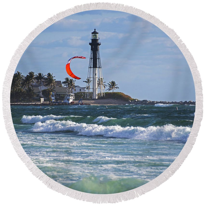 Pompano Round Beach Towel featuring the photograph Pompano Beach Kiteboarder Hillsboro Lighthouse Waves by Toby McGuire