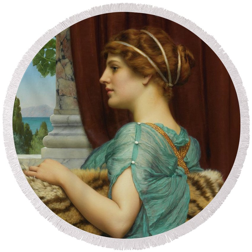 John William Godward Round Beach Towel featuring the painting Pompeian Lady by John William
