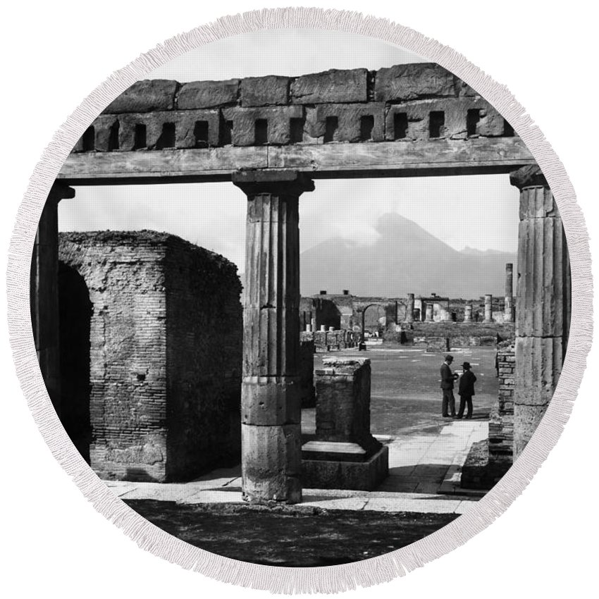 1890 Round Beach Towel featuring the photograph Pompeii: Forum, C1900 by Granger