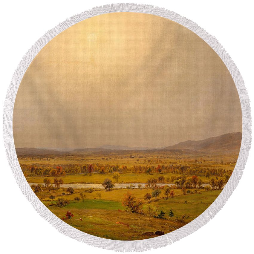 Pompton Plains Round Beach Towel featuring the painting Pompton Plains, New Jersey, 1867 by Jasper Francis Cropsey