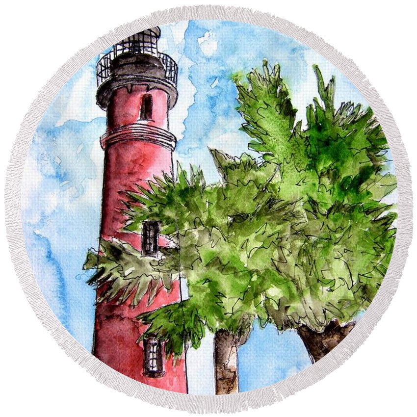 Ponce De Leon Round Beach Towel featuring the painting Ponce De Leon Inlet Florida Lighthouse Art by Derek Mccrea