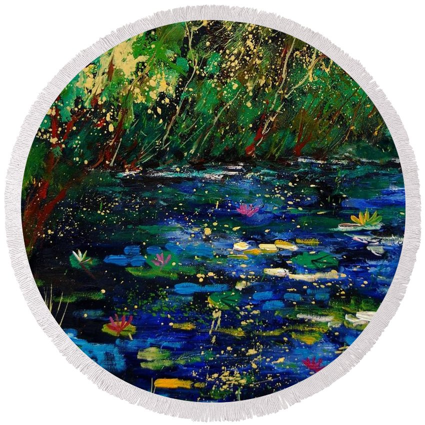 Water Round Beach Towel featuring the painting Pond 459030 by Pol Ledent