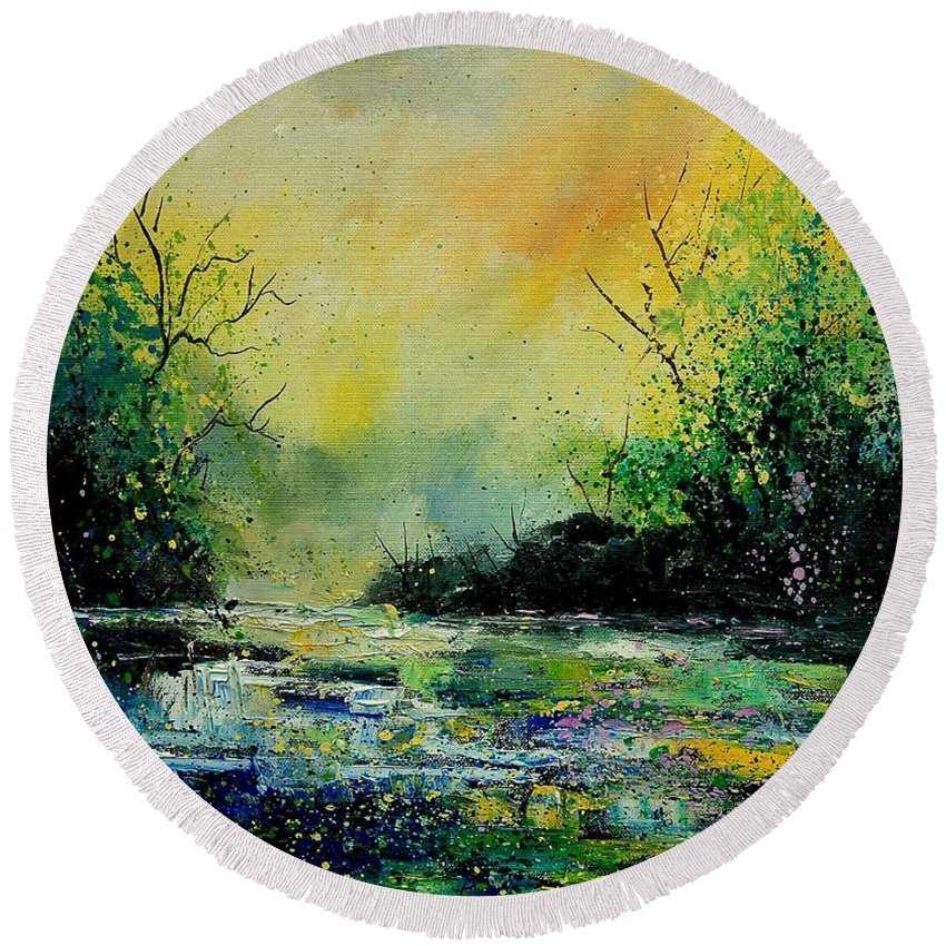Water Round Beach Towel featuring the painting Pond 459060 by Pol Ledent