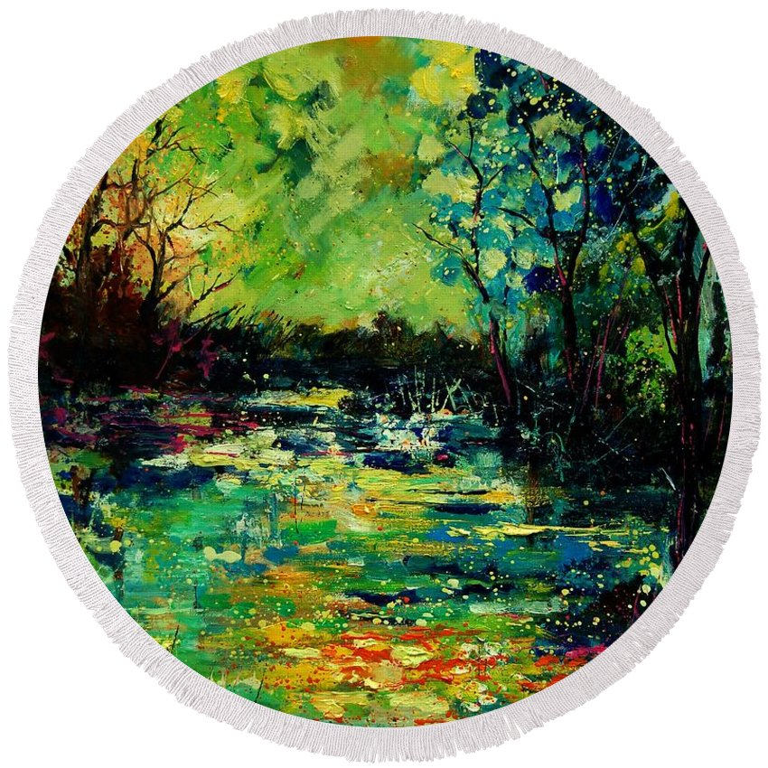 Pond Round Beach Towel featuring the painting Pond 560120 by Pol Ledent