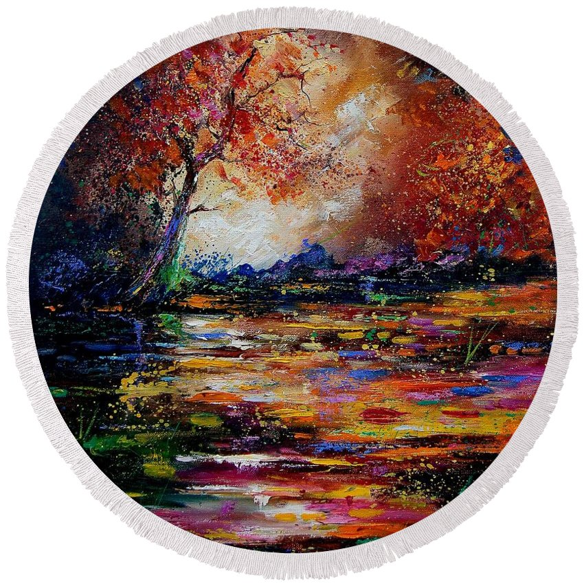 River Round Beach Towel featuring the painting Pond 671254 by Pol Ledent