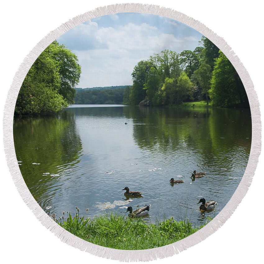 Countryside Round Beach Towel featuring the photograph Pond And Ducks by Svetlana Sewell