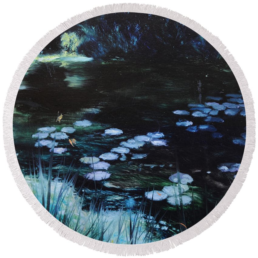 Landscape Round Beach Towel featuring the painting Pond At Port Meirion by Harry Robertson