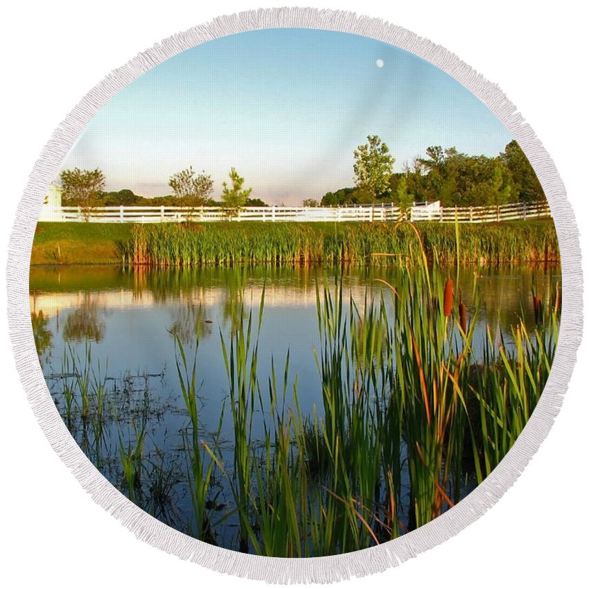 Landscape Round Beach Towel featuring the photograph Pond At Sunset by Todd Blanchard