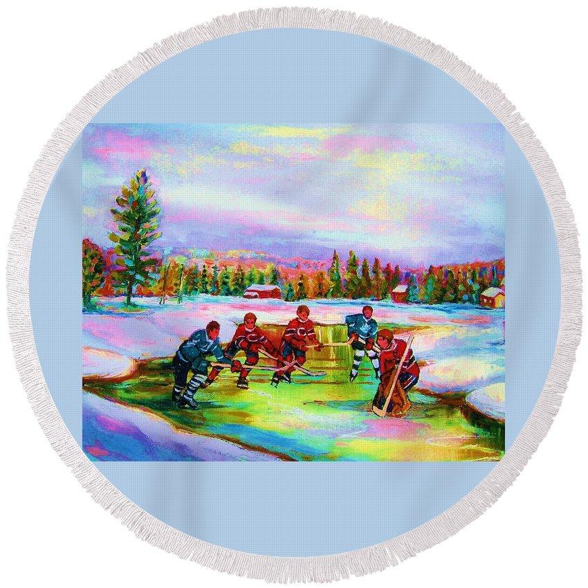 Hockey Round Beach Towel featuring the painting Pond Hockey Blue Skies by Carole Spandau