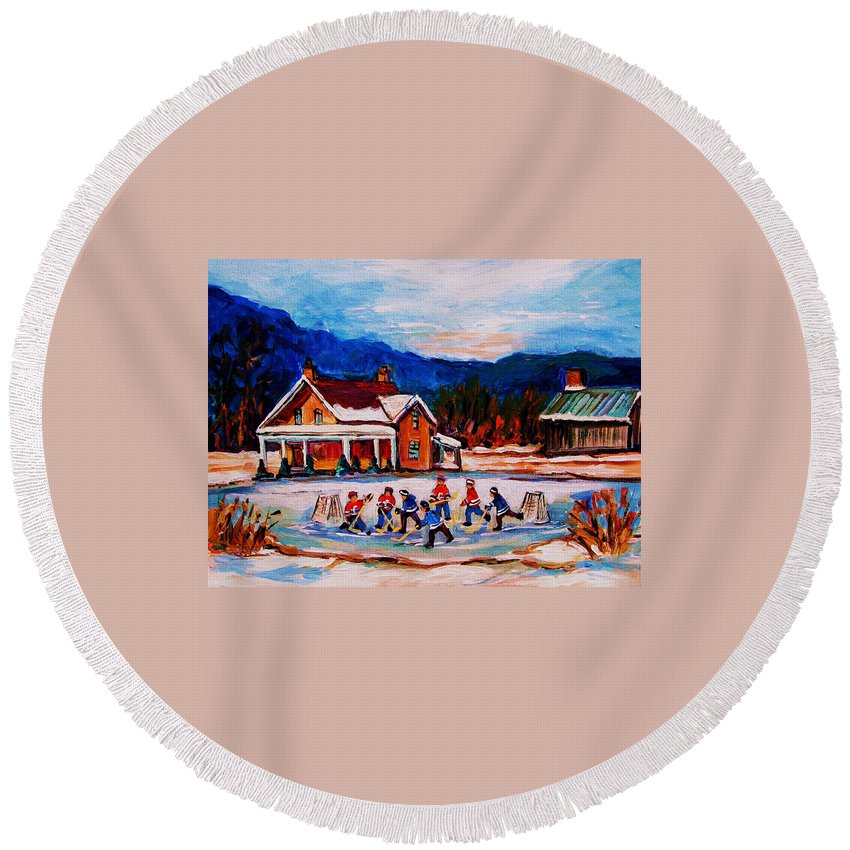 Hockey Round Beach Towel featuring the painting Pond Hockey by Carole Spandau
