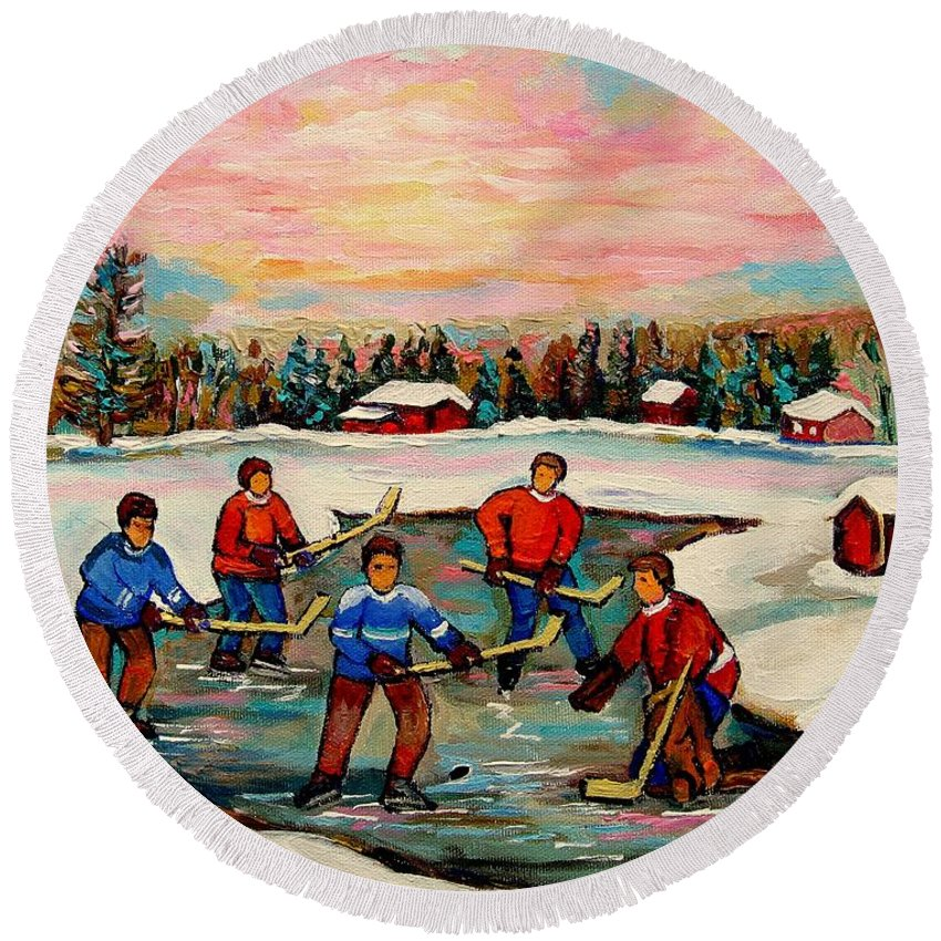 Montreal Round Beach Towel featuring the painting Pond Hockey Countryscene by Carole Spandau