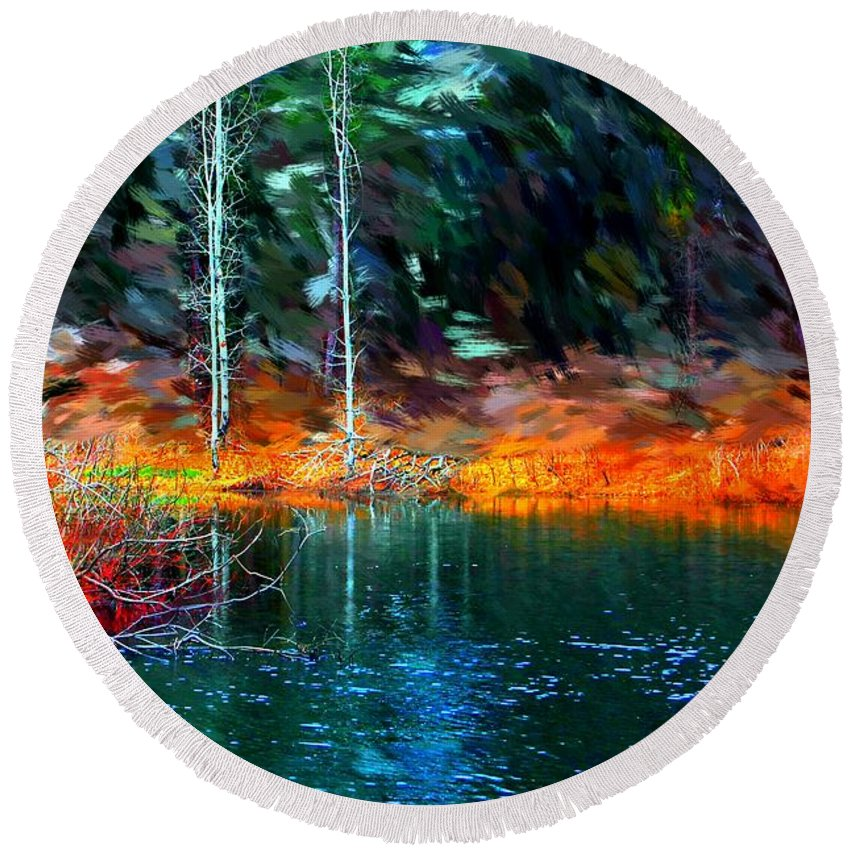 Digital Photograph Round Beach Towel featuring the photograph Pond In The Woods by David Lane