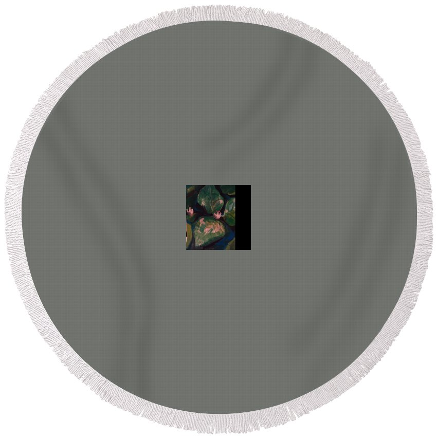 Round Beach Towel featuring the painting Pond Leaves by Bethany Hannigan