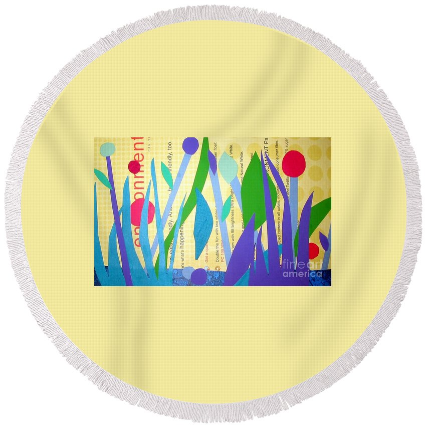 Landscape Round Beach Towel featuring the mixed media Pond Life by Debra Bretton Robinson