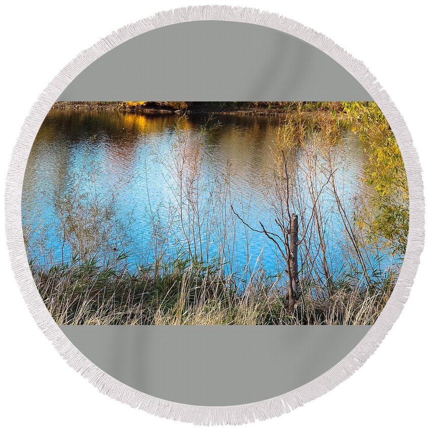 Pond Round Beach Towel featuring the photograph Pond Life by Tracy Welter