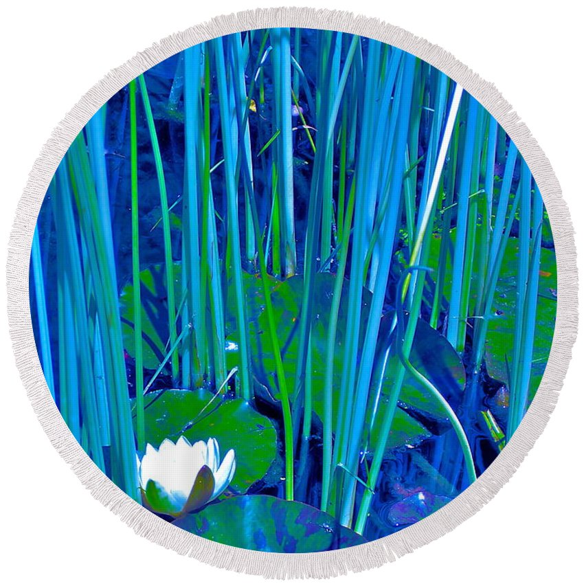 Pond Round Beach Towel featuring the photograph Pond Lily 6 by Pamela Cooper