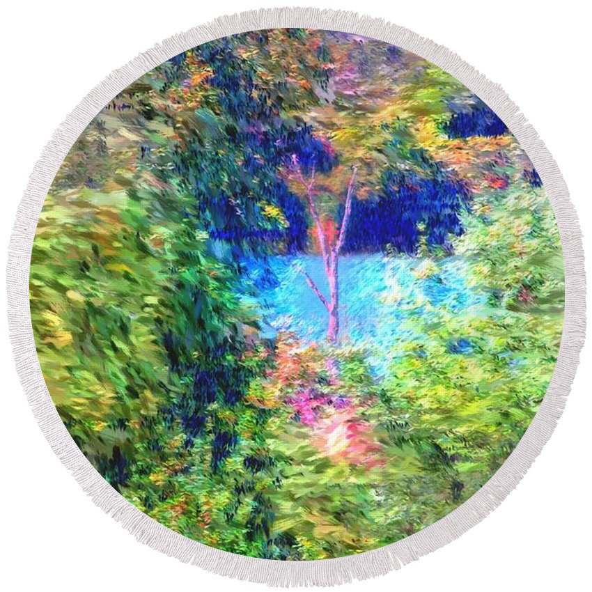 Digital Photograph Round Beach Towel featuring the photograph Pond Overlook by David Lane