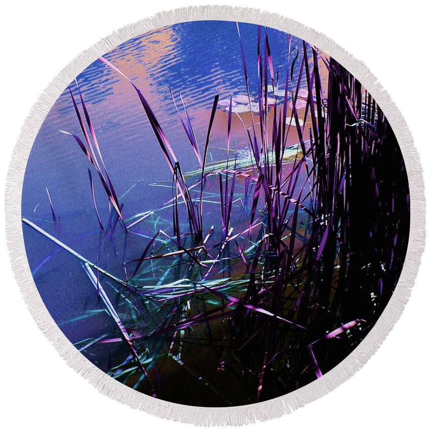 Reeds In Pond At Sunset Round Beach Towel featuring the photograph Pond Reeds At Sunset by Joanne Smoley
