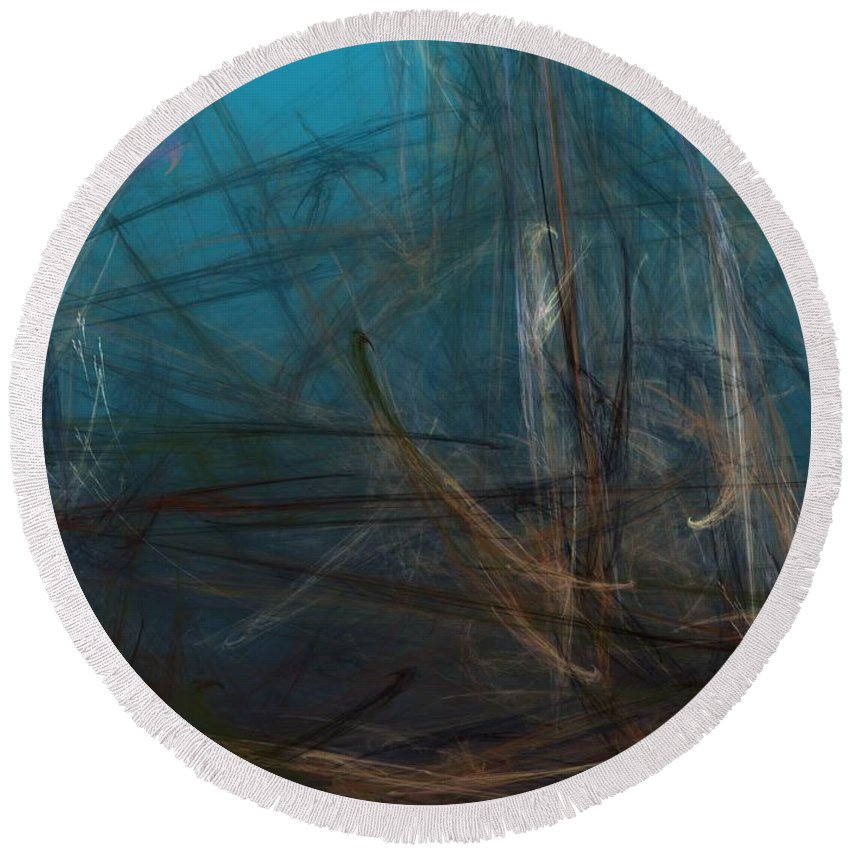 Abstract Digital Painting Round Beach Towel featuring the digital art Pond Water by David Lane