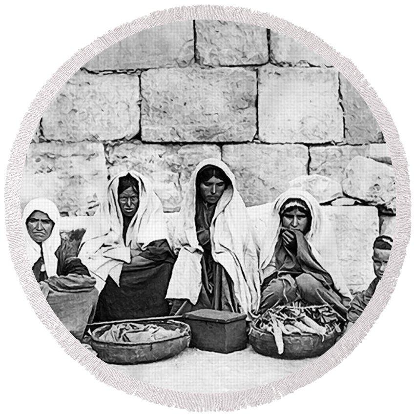 Ponfils Round Beach Towel featuring the painting Ponfils 1898 Arab Women by Munir Alawi
